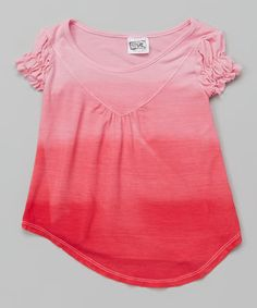 This Pink Dip-Dye Puff-Sleeve Top - Infant, Toddler & Girls is perfect! #zulilyfinds