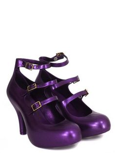 Vivienne Westwood - Anglomania Melissa - womens pearlescent purple, three strap elevated shoes in a delicious bubblegum scented plastic with an elevated platform and 9 cm heel. The shoes also feature three buckled gladiator straps, golden buckles and Vivienne Westwood Anglomania Orb embossed interior. $172