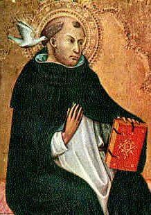 Saint Thomas d'Aquin (1225-1274), le « prince de la scolastique », philosophe et théologien italien, figure majeure de la philosophie scolastique et l'un des principaux théologiens catholiques.  Par son effort de réconciliation de la foi et de l'intellect, il créa une synthèse philosophique entre les œuvres et les enseignements d'Aristote et celles des autres penseurs : Augustin, les autres Pères de l'Église, les penseurs juifs comme Maïmonide et ses prédécesseurs dans la tradition…