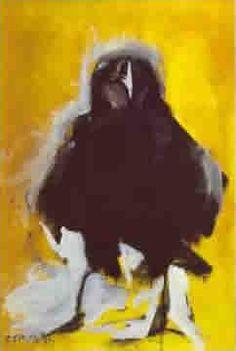 Júlio Pomar, corbeau, 1985 Portuguese, Anatomy, Portugal, Sculptures, Paintings, Artists, Animais, Pintura, Raven