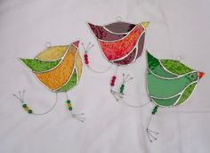 Stained Glass Funky Bird Suncatcher  - Green and Amber