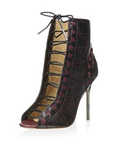 L.A.M.B Women's Tyra Stitched Open Toe Bootie (Gunmetal)