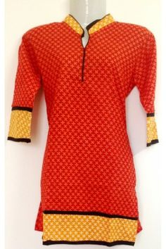 #CottonKurti - Red Printed Yellow Outlined Closed Neck