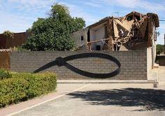 "Ampparito in Spain, ""Objects"" in Spain, 2016 Stencil Graffiti, Graffiti Art, Street Installation, Agricultural Buildings, Journal Du Design, Spanish Artists, London Street, Street Artists, Urban Art"