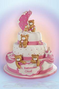 Torta Battesimo Chloé bear Bolo Fack, Torta Baby Shower, Teddy Bear Cakes, Baby Birthday Cakes, Shower Bebe, Novelty Cakes, Girl Cakes, Love Cake, Cute Cakes