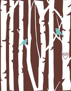 Items similar to Love Birds Wedding Gift Engagement Gift Birch Tree Forest Love Birds Carved Initials or Anniversary Gift - Gift for Wife Art Print on Etsy Wedding Posters, Wedding Prints, Birch Tree Art, Gray Tree, Grey Wall Art, Love Birds Wedding, Kirigami, Tree Forest, Bird Prints