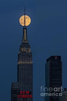 The super moon rises over the Empire State Building in New York City, NYC. Susan Candelario