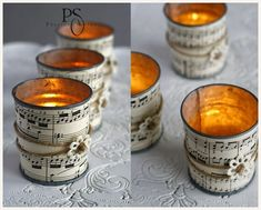 Make lanterns and organize a midsummer dream in your own gardenlanterns bastenl upcycling ideas fancy garden decorations make latenen out of tin brilliant ideas for DIY candle holders not only for All Saints Tin Can Crafts, Diy And Crafts, Paper Crafts, Diy Candle Holders, Diy Candles, Sheet Music Crafts, Creation Deco, Music Decor, Rustic Gardens