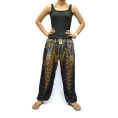 Black Flower Print Unisex Thai Harem by AsianChicShop on Etsy, $15.99   harem pants, men harem pants, harem pants pattern, hippie boho pants, trouser harem pant, hippie pant harem, women harem pants, harem pant, harem pant women, yoga pants, elephant pants, aladdin pants