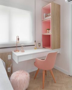 These 14 projects prove that even in small rooms an office can fit - home office in the bedroom - Study Room Decor, Cute Room Decor, Room Ideas Bedroom, Girl Bedroom Designs, Small Room Bedroom, Bedroom Decor, Bedroom Ideas For Small Rooms, Bedroom Apartment, Home Office Design