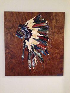 """Golden Wanderer"" 28x30 Painting on wood panel.  SOLD  #headdress #feathers #art"