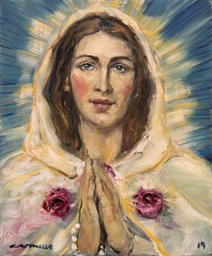 The Mystical Rose Art Print by castrillo Divine Mother, Blessed Mother Mary, Blessed Virgin Mary, Catholic Art, Religious Art, Jesus Drawings, La Salette, Arte Online, Images Of Mary