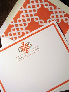 """Personalized stationery... this one if part of the """"personal branding"""" ensemble. Grey + coral!"""