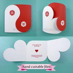 Yin Yang Valentine o Wedding Card (mano cuttable e testo che file PDF modificabili - nessun elemento verrà spediti)