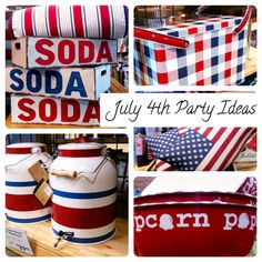 July 4th #picnic ideas ~ find out where to get soda crates, metal picnic baskets, American flag pillows and popcorn bowls