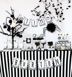 these great black white stripe serving bowls are available in an array of sizes perfect for our halloween with tim burton halloween party de - Tim Burton Halloween Decorations