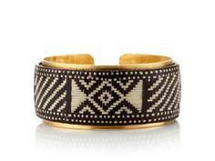 Global Goods Partners Hand Woven Fiber & Brass Cuff