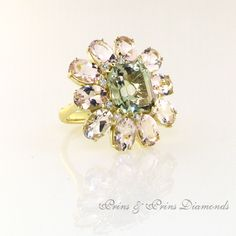 Green Quartz and Pink Morganite set in yellow gold Green Quartz, Dress Rings, Sparkle, Classy, Brooch, Yellow, Pink, Gold, Accessories