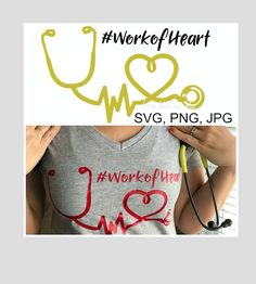 Nurse work of heart Stethoscope heartbeat svg cut file, Nurse doctor svg cut file, Nurse t-shirt idea, doctor svg t-shirt mug decal DIY by SvgArtsyWallsAndMore on Etsy Silhouette Cameo Machine, Silhouette Cameo Projects, Vinyl Projects, Diy Projects To Try, Project Ideas, Monogram Shirts, Nurse Gifts, Svg Cuts, Cutting Files