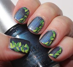 Marias Nail Art and Polish Blog: Strap on your leaves - quick and simple mani