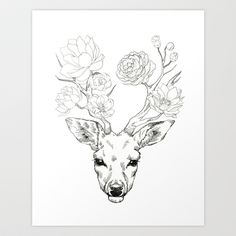 Dear, Flower deer Art Print by Minyo Planet - $17.00