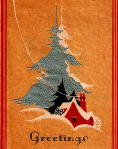 Vintage Christmas Card Art Deco Cottage Chimney Smoke Big Tree 1930 s