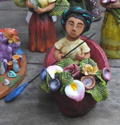 Woman in a Canoe Mermaid Skeleton, Ceramic Figures, Pottery Sculpture, Mexican Folk Art, Great Stories, Chicano, Canoe, Clay, Culture