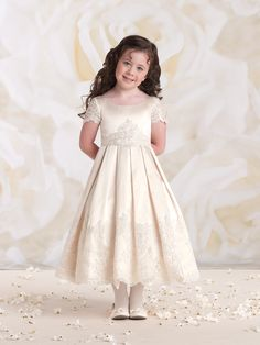 75ff6d33e2da9 Joan Calabrese Style Sleeveless Satin and Tulle Dress with Lace - Lace  Dresses - Flower Girl Dress