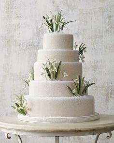 "See the ""Winter Wonderland Wedding Cake"" in our White Wedding Cakes gallery Martha Stewart Weddings, Pretty Cakes, Beautiful Cakes, Simply Beautiful, Winter Wonderland Cake, White Wedding Cakes, Wedding White, Gold Wedding, Sugar Flowers"