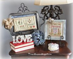 Priscillas: A Stitchy Valentine Vignette - love the idea of mounting needlework on a silver tray!