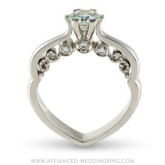 Luxury look white gold engagement ring decorated with center diamond and 6 pcs small diamonds. Gold Engagement Rings, Diva, Diamonds, White Gold, Luxury, Jewelry, Jewlery, Bijoux, Schmuck
