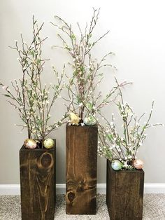 Farmhouse vases set of 3 floor vases farmhouse decor Wooden Vase, Wooden Decor, Large Floor Vase, Floor Vases, Farmhouse Vases, Modern Rustic Decor, Easter Table Decorations, Branch Decor, Decorated Jars