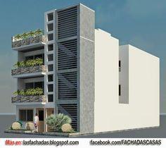 FACHADA DE VIVIENDA MULTIFAMILIAR 3 Storey House Design, 2 Storey House, Building Facade, Building Design, Building A House, Building Ideas, Architecture Plan, Residential Architecture, Cool House Designs
