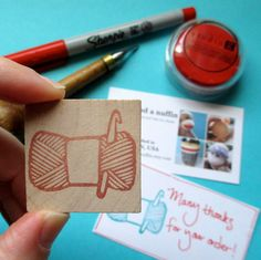 Skein of Yarn With Crochet Hook - Hand Carved Rubber Stamp. $10.00, via Etsy.