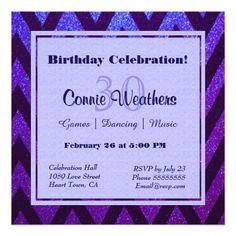 428 best blue purple birthday party invitations images on pinterest modern chevron 525x525 square paper invitation card filmwisefo
