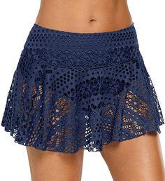 Sexy Women High Waist Skirt Hollowed Out Swimwear Summer Holiday Beach Cover Ups Swimsuit With Shorts, Ruffle Swimsuit, Lace Bikini, Women's Shorts, Lace Shorts, Swim Skirt, Swim Dress, Estilo Khloe Kardashian, Parte Superior Del Bikini