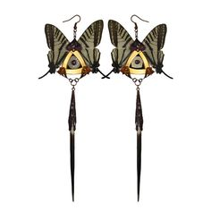 SYLPH / Swallowtail Butterfly Kanzashi Long Dangle Earrings / Valentines Day, Gift for Her, Valentines Sweet Heart Gift, Free Shipping on Etsy, $255.10