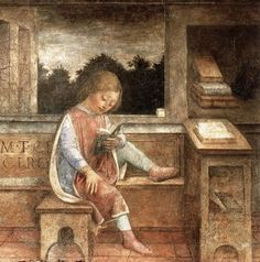 Si hortum in bibliotheca habes, nihil deerit. He who has a garden and a library wants for nothing. Painting of The Young Cicero Reading, c. 1464 by Vincenzo Foppa. Reading Art, Kids Reading, Reading Books, I Love Books, Books To Read, Medieval, Book People, World Of Books, Lectures