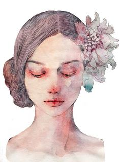 gambar art, drawing, and girl Watercolor Face, Watercolor Portraits, Watercolor Paintings, Watercolor Portrait Tutorial, Face Illustration, Watercolor Illustration, Sad Girl Drawing, Sad Girl Art, Wallpaper Wall