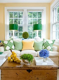 kelly green lampshades + geometric pattern pillows