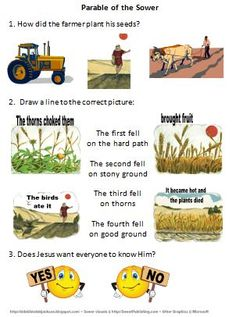 Bible Fun For Kids: Parable of the Sower Object Lessons, Bible Lessons, Sunday School Lessons, Lessons For Kids, Parable Of The Sower For Kids, Good Samaritan Parable, Jesus Walk On Water, Parables Of Jesus, Religion Catolica