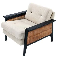 Restored Mid-Century Modern Caned Lounge Chair by Galloways, circa For Sale Contemporary Dining Room Sets, Contemporary Sofa, Shabby Chic Table And Chairs, Vintage Chairs, White Metal Chairs, Mid Century Couch, Indian Furniture, Cane Furniture, Handmade Furniture