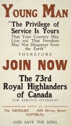 Print of Poster is text only Print Ads, Poster Prints, Ww1 Posters, History Meaning, Advertising History, Vintage Dance, O Canada, Highlanders, World War I