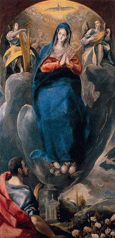 El Greco: La Inmaculada Concepción y San Juan, 1585, Santa Cruz Museum, Toledo, Spain