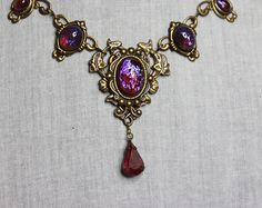 Victorian inspired necklace with Dragons breath   by Anonijewellry, $60.00