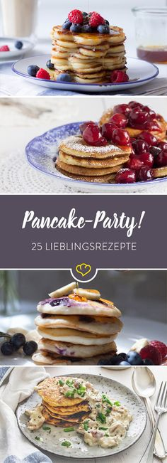 25 kleine Seelenschmeichler aus der Pfanne A pancake seldom comes alone! Sometimes as Blueberry Pancake, sometimes fragrant with cinnamon or rather hearty with herbs and salmon. Blueberry Pancakes, Blueberry Recipes, Pancake Party, Low Carb Pancakes, Waffle Recipes, Healthy Breakfast Recipes, Healthy Snacks, Sweet Cakes, Food Porn