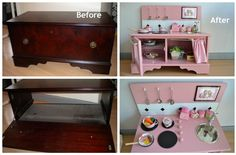 Recipes, DIY, Craft, Gardening, Crochet and Kids activities. Diy Kids Furniture, Furniture Projects, Furniture Makeover, Wood Projects, Diy Play Kitchen, Mud Kitchen, Play Kitchens, Projects For Kids, Diy For Kids