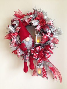 Christmas wreath. Christmas gnome wreath. Added ribbon strips, bow. Next are christmas ornaments, candy ornaments and gift boxes, poinsettia flowers, pinecones, two decorated lanterns and a scandinavian gnome. More at https://www.facebook.com/Moje-vence-995508700482994/