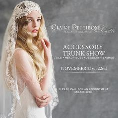 Claire Pettibone Bridal Accessories Trunk Show Nov 21 22nd At TheCastle Los