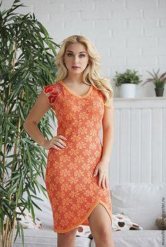 """Купить Платье """"Жульет"""" - оранжевый, ажурное платье, Оранжевое платье, платье с кружевом, вязаное платье"""